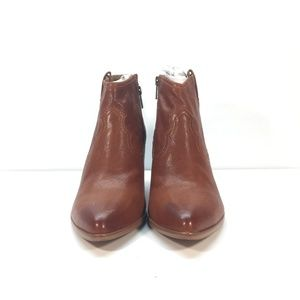 FRYE Reina Leather Ankle Booties Cognac Size 7